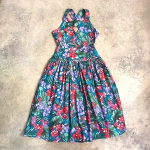 Homemade Keyhole Tropical Floral Sundress Vintage
